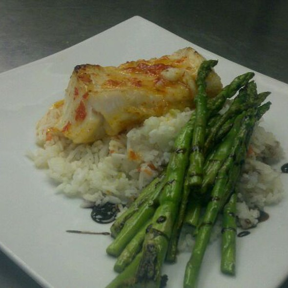 Sea Bass With A Sweet Chili Sauce Rice And Asparagus With Balsamic - 88 Wharf, Milton, MA