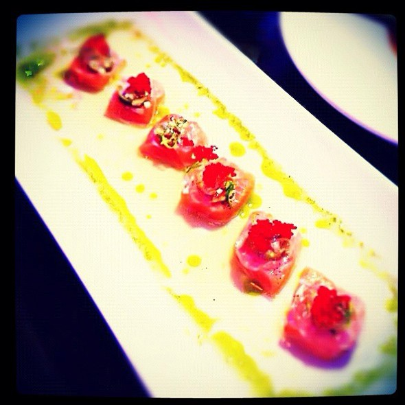 Salmon Carpaccio With Lemon And Basil Infused Olive Oil - Cafe Josie, Austin, TX