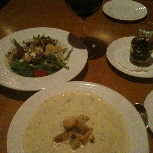 Clam Chowder, House Salad & a Malbec.  - Looking Glass Restaurant at the Bluenose Inn, Bar Harbor, ME