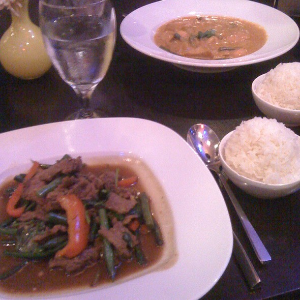 Wok Basil With Angus Beef & Massaman Curry With Tofu - Chedi Thai Bistro, La Jolla, CA
