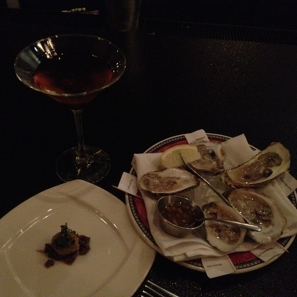Fried Olive, The Charming Man Cocktail And Oysters. Yummm What A Treat! - Lento, Rochester, NY