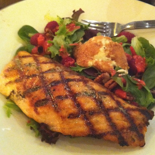 Almond Crusted Goat Cheese Salad W/ Salmon - Not Your Average Joe's Watertown, Watertown, MA