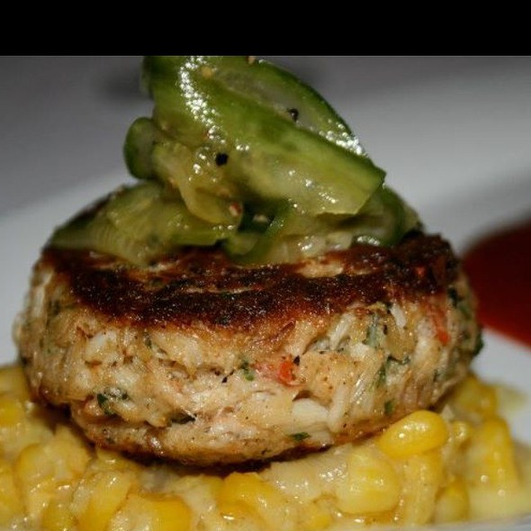 "Crab Cake - Jumbo Lump Crab ,""Corn Love "" And An Orange Chipotle Sauce - Vittorio's Restaurant & Wine Bar, Amityville, NY"