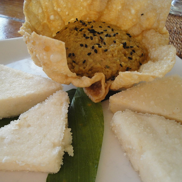 "Soybean ""Hummus"" with Fried Tofu - Ocean House Restaurant, Honolulu, HI"