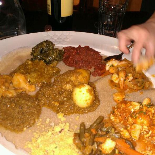 Mesob Dinner Sampler - Mesob Ethiopian Restaurant, Montclair, NJ