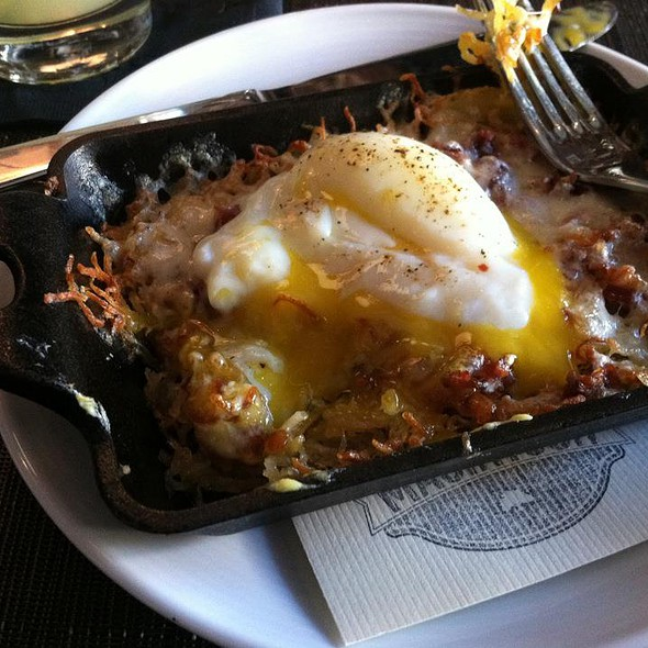Potato Hash, Bacon & Fontina  with Over Easy Egg - The Macintosh, Charleston, SC