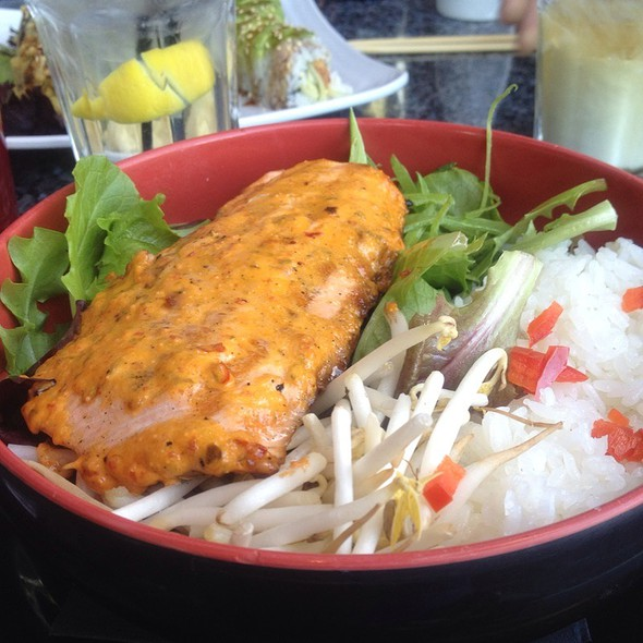 Spicy Grilled Salmon Rice Bowl - Sapporo - Scottsdale Main Dining Room, Scottsdale, AZ