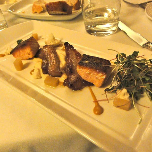 Apple Wood Hot Smokes Salmon, Maple Glazed Pork Belly, Vanilla Parsnip, Piclked Cauliflower, Honey Hot Mustard And Apple Gelée - Inn on the Twenty, Jordan, ON