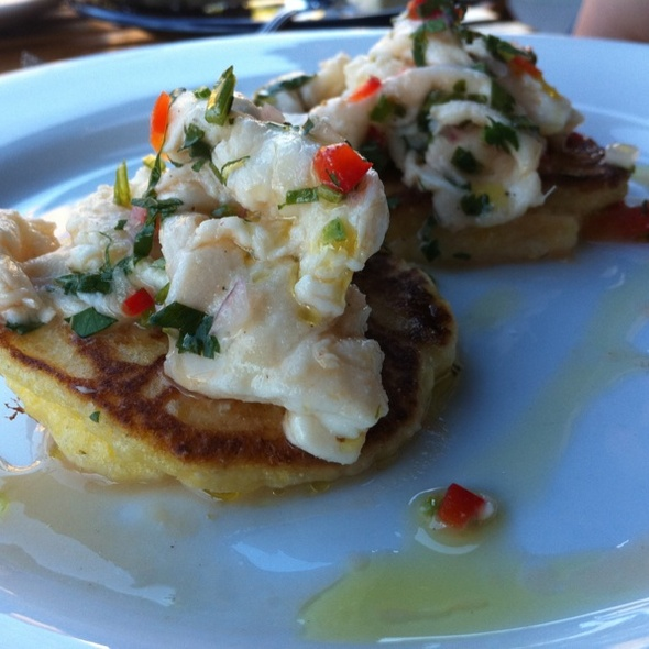 Cornmeal blinis with Halibut ceviche - Cabezon Restaurant, Portland, OR