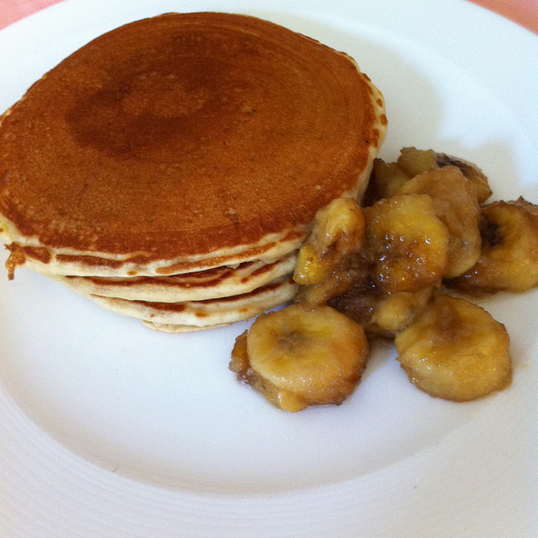 Almond Milk Pancakes with Caramelized Bananas & Roasted Almonds - The Carlyle Restaurant, New York, NY