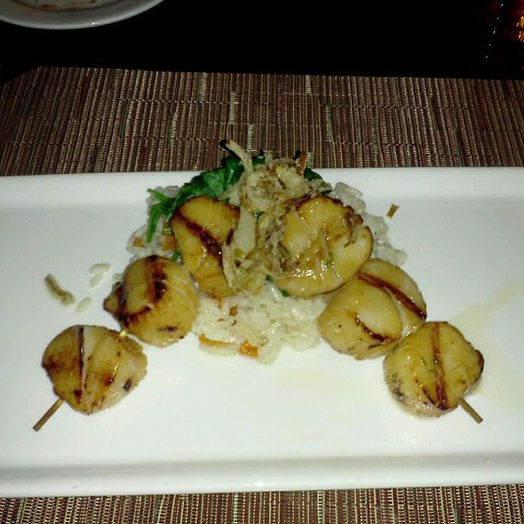 Scallops  With Sauteed Spinach Over Mushroom Risotto With A Balsamic Reduction - Watertable, Baltimore, MD