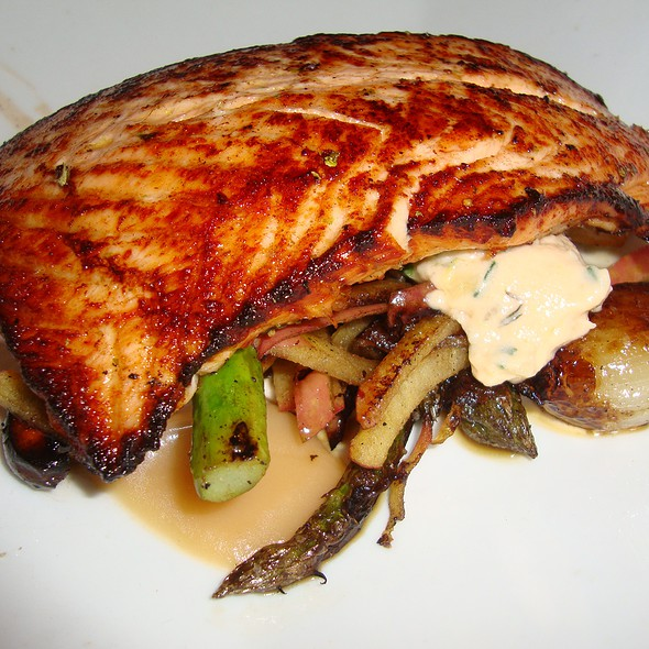 Salmon with Roasted Asparagus & Mushrooms - benjy's upper washington, Houston, TX