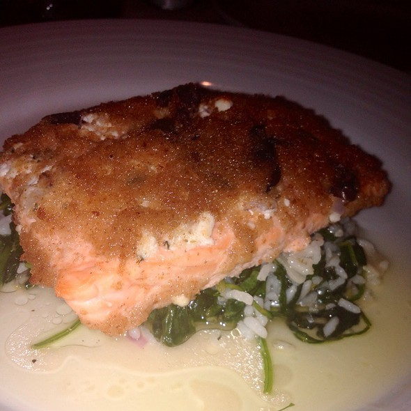 Feta And Olive Encrusted Salmon - Axia Taverna, Tenafly, NJ