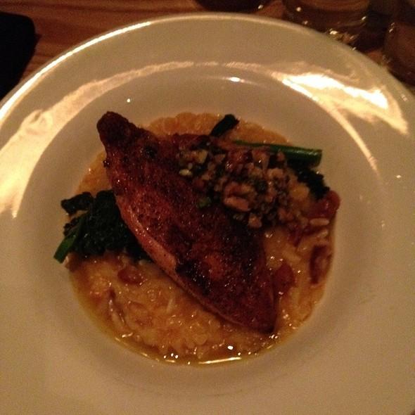 Draper Valley Chicken Breast, Chorizo An Butternut Squash Risotto, And Marcona Almond Pesto - Roots Restaurant and Bar, Camas, WA