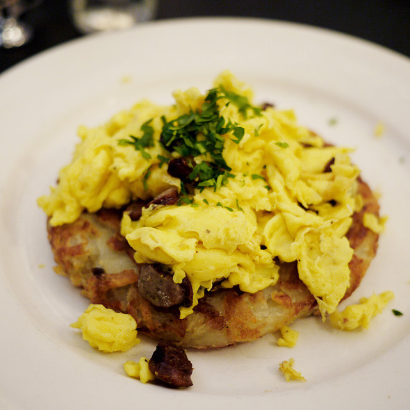 Scrambled Eggs w/ Sausage Over Rosti - Cervantes' Oyster Shack, New York, NY