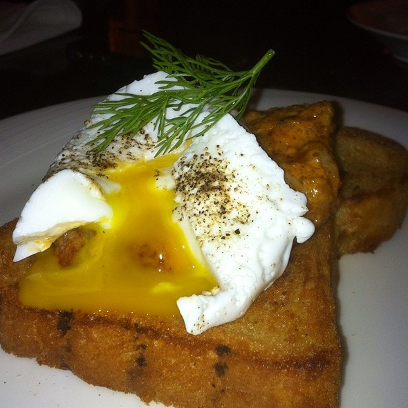 Kelly English Steak House: Midnight Snack: Brioche Toast With Creole Shrimp And A Perfectly Poached Egg - Charlie Gitto's at Hollywood Casino, Maryland Heights, MO