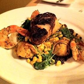 Blackened Sea Bass With Prawn And Potato Crepes - Hardware Grill, Edmonton, AB