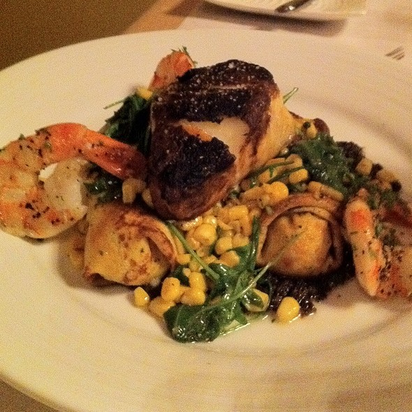 Blackened Sea Bass With Prawn And Potato Crepes - Hardware Grill, Edmonton, AB