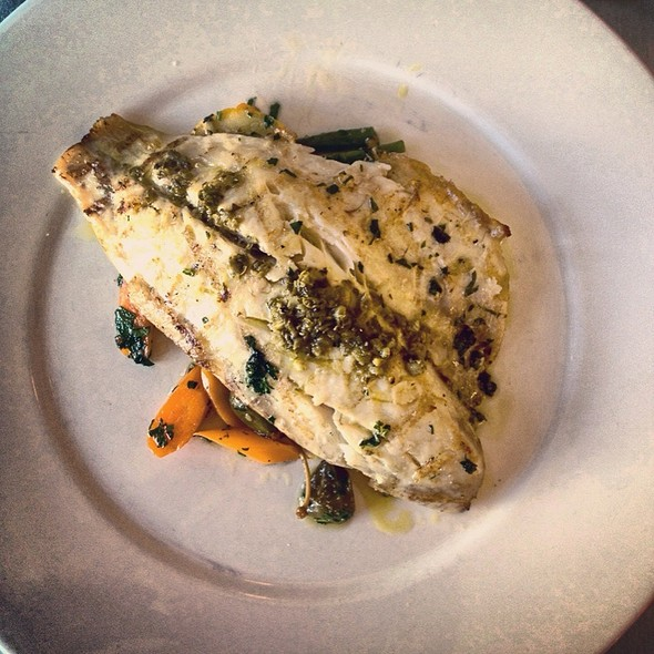 Grilled Stripped Bass With Baby Vegetables And Herb Oil - Bice - Palm Beach, Palm Beach, FL