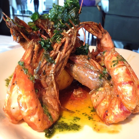 Pan Fried Jumbo Tiger Prawns With Garlic & Chilli Butter, Herb Dressing & Crisp Basil - Smiths Restaurant Wapping, London