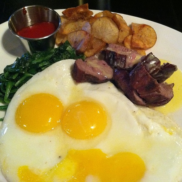 Grilled Filet With Spinach & Eggs - Columbus Inn, Wilmington, DE