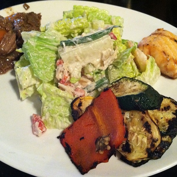 Guinness Lamb Stew, Pan Roasted Salmon, Grilled Vegetablea, Shrimp And Crab Salad From The Salad Station - Columbus Inn, Wilmington, DE