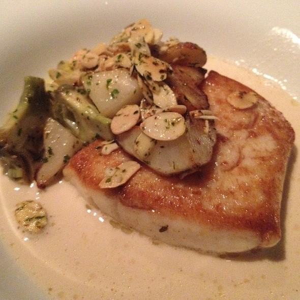 Passera E Latte Di Mandorle flounder, artichokes, sunchokes, lemon, almond milk - Lincoln Ristorante, New York, NY