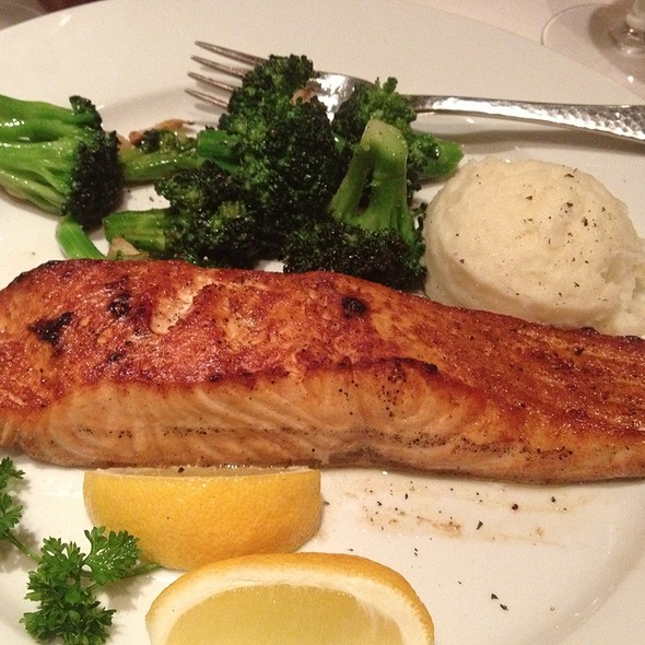 Norwegian Salmon W/ Mashed Potatoes & Broccoli - Benjamin Steakhouse - Westchester, White Plains, NY