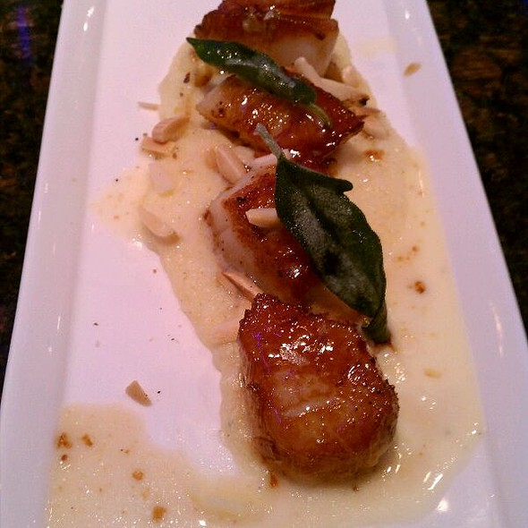 Seared Diversos Scallops With Parsnip Piree,  Fried Sage And Toasted Almonds  - Ernest & Scott Taproom, Wilmington, DE