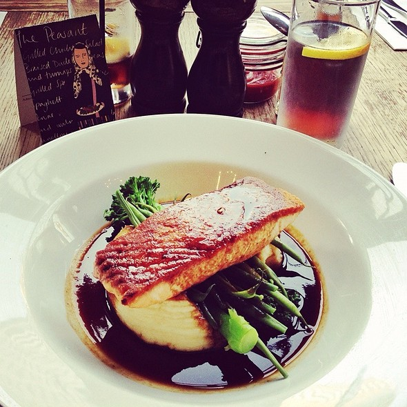Roasted Salmon With Mash And Green Beans - The Peasant, London