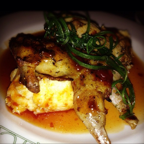 Smoked Quail With Jalepeno Cheddar Grits And Molasses Bbq Glaze - Reata, Fort Worth, TX