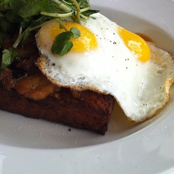 Pork Belly, Fried Polenta, Two Eggs And Greens - Le Chien Fumant, Montréal, QC