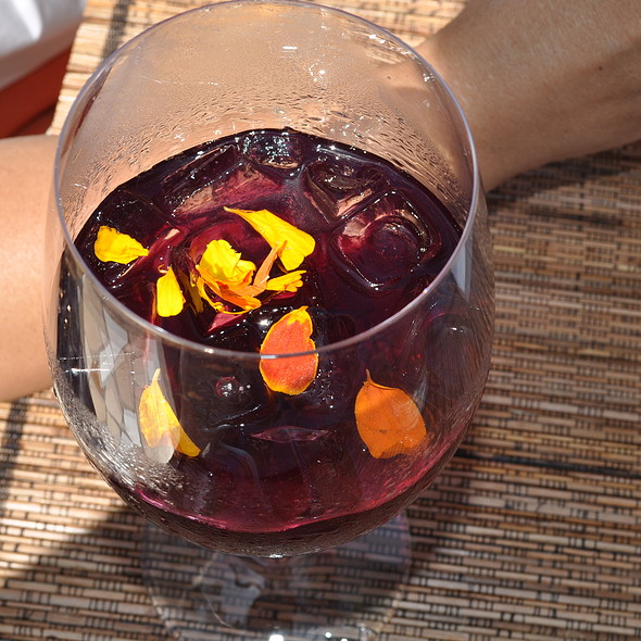 Fresh Blueberry juice with fresh flower - Kitchen 4140, San Diego, CA