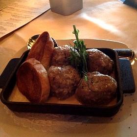 Baked Veal Meatballs W/ 4 Cheese Cream Sauce - Bistecca Italian Steakhouse & Wine Bar, Edmonton, AB