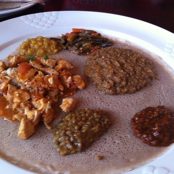 Sampler Of Many Dishes - Mesob Ethiopian Restaurant, Montclair, NJ