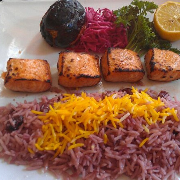 Grilled Salmon Kabob With Sour Cherries Rice - Persepolis, New York, NY