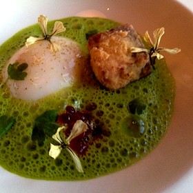 Slow Cooked Egg With Headcheese In A Ramp Emulsion - Kimball's Kitchen, Duck, NC