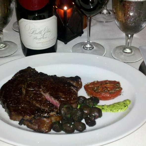 Medium Rare Aged Ribeye with Sauteed Button Mushrooms & Basil Roasted Tomato - How Friday night Dinner was Done! - Halls Chophouse, Charleston, SC