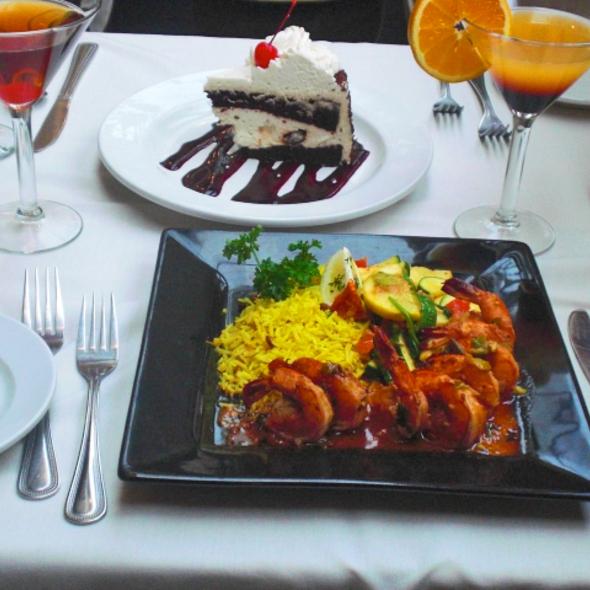 Prawns Naseem and Black forest Cake with Cocktails - Cafe Soriah, Eugene, OR