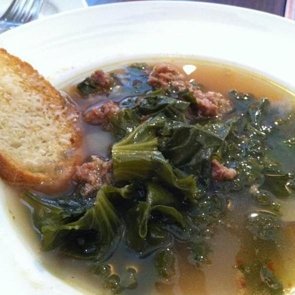 Spicy kale soup, sweet Italian sausage, Parmesan crouton  - Domaine Hudson, Wilmington, DE