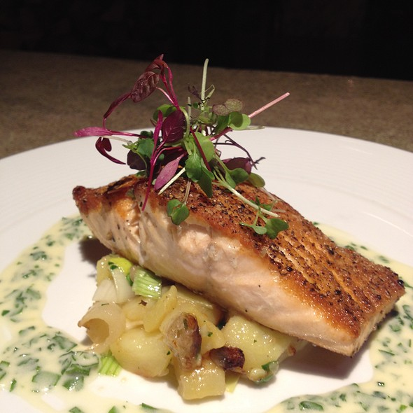 Sautéed Atlantic Salmon  (Served with fingerling potatoes, braised leeks and chive beurre blanc)  - Wolfgang Puck Steakhouse - MGM Grand Detroit, Detroit, MI
