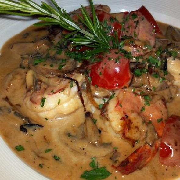 Giant shrimp. Mushroom Risotto  - EVO Italian, Tequesta, FL