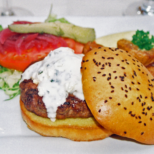 Lamb Burger with feta cheese and Tatziki - Cafe Soriah, Eugene, OR