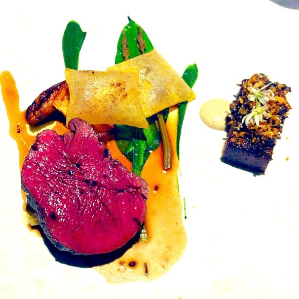 Fillet of Beef with Cepe, Wild Garlic, Hop Shoots and Summer Truffle - The Ledbury, London