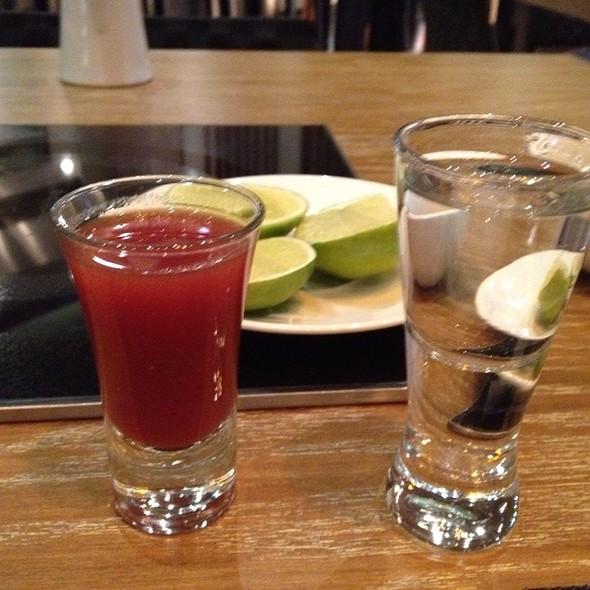 Tequila Tradicional Con Sangrita - Jin San Shabu Shabu, Mexico City, CDMX