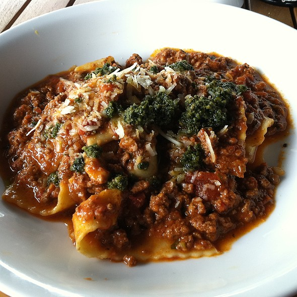 Lamb Bolognese, hand cut tagliatelle, wild mint and pistachio pesto - Columbus Inn, Wilmington, DE