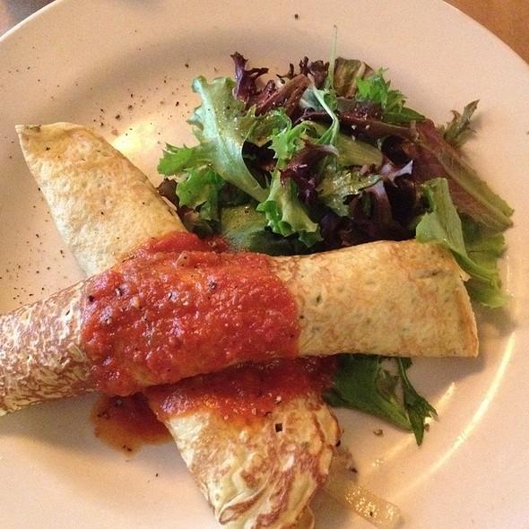 Mushroom & Onion Crepe With Tomato Sauce - Chez Oskar, Brooklyn, NY