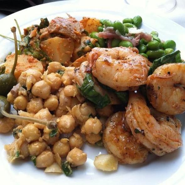 Smoked paprika sauteed shrimp, Mediterranean chickpea salad, potato salad with roasted pepper dressing, edamame and prosciutto salad - Piccolina Toscana, Wilmington, DE