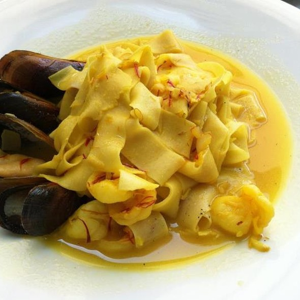 """""""Pappardelle di Mare"""" hand made Pappardelle with crab, mussels and shrimp in a saffron butter sauce - Piccolina Toscana, Wilmington, DE"""