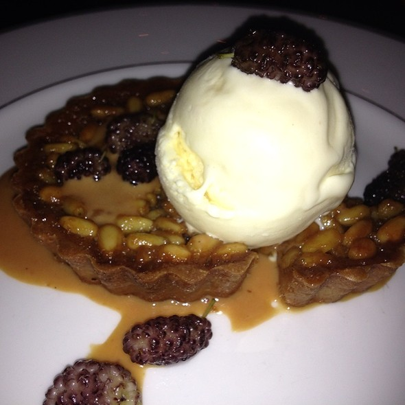 pinenut tart with goat milk gelato and mulberry the tasting kitchen venice ca - The Tasting Kitchen